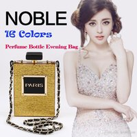 Wholesale Perfumes Paris - Hot Fashion 12 Colors Brand PARIS Perfume Bag Bottle Shape Handbag Clutch Acrylic Evening Bags Chain Messenger with Shoulder Strap - PZ01