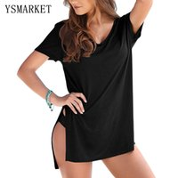 Wholesale Loose Side Shirts - Summer New Womens Plus Size White Black Short Sleeves T-shirt Beach Cover-up Hot Side Slit Loose Female Shirts Beachwear Q42129