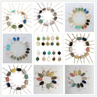 Wholesale Drusy Jewelry - Fashion Drusy Druzy Necklaces Earrings Jewelry For women 10 colors Gold Silver Plated Geometry Stone Pendant Necklace Earrings