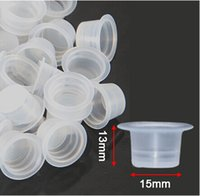 Wholesale Tattoo Ink Cap Sizes - 1000Pcs 15mm Large Size Clear White Tattoo Ink Cups For Permanent Makeup Caps Supply Free Shipping