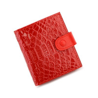 Wholesale Cards Design Pattern - New fashion Genuine leather women's short design wallet fashion classic crocodile pattern purse female Wallets Cowhide 4 Colors