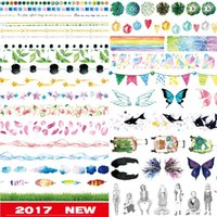 Wholesale japanese washi paper wholesale - Wholesale- 2016 24Designs NEW!! Flag Girl Lace Butterfly Feather Pattern Japanese Washi Decorative Adhesive DIY Masking Paper Tape Sticker