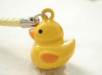 Wholesale Mobile Phone Dangle Charms - 50pcs Cute Yellow Duck Design Bell Mobile Cell Phone Collar Charm Strap Dangle 0.7 in.