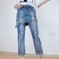 Wholesale Trousers For Womens - Wholesale- Ladies Stretch Ripped Vintage Jeans Womens High Waisted Straight Denim Pants Rolled Up Washed Pants Trouser Plus Size For Femme