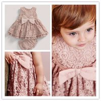 Wholesale Toddler Underwear Sets - Toddler Baby Girls Lace Dress Bow Sweet Kids Party Clothing Sets Dress and Lace Underwear 0-3T Wholesale