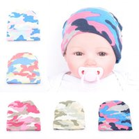 Wholesale Baby Girl Camo - Infant hat Baby boy girl knit Hat Camo newborn hat Maternity Accessories cotton Autumn winter 0-3months 2016 wholesale
