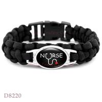 Wholesale Wholesale Nurse Set - (10 PCS lot) Nurse Lover Heart Paracord Survival Friendship Womens Girls Black Wax Bracelets Drop Shipping