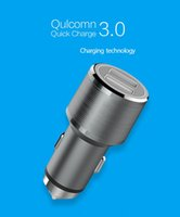 Wholesale Shell Smart Phone - 2017 HOT! QC 3.0 smart chip aluminum alloy shell dual USB 2.4A mobile phone fast car charger