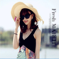 Wholesale Ladies Hats Big Bows - Korean version of the bow big along the straw hat lady anti-beach beach wholesale summer travel self-timer grass hat