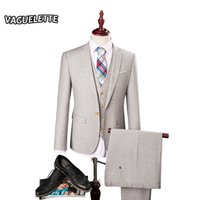 Wholesale Men Fashion Luxury Vest - Wholesale- (Blazer+Pants+Vest) 3 Piece Suits Men Light Grey Luxury Tuxedo For Men Skinny Fashion Single Button Wedding Suits For Men M-3XL