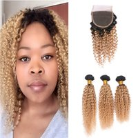 Wholesale blonde afro curly hair resale online - Honey Blonde Ombre Indian Virgin Human Hair With Closure Afro Kinky Curly B Two Tone Ombre x4 Lace Closure With Bundles