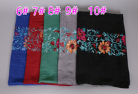 Wholesale Muslim Embroidered Hijab - Wholesale- Hot selling Ladies embroider floral shawls popular hijab bandelet headband winter wrap muslim scarves scarf 14 color 10pcs lot