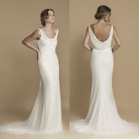 Wholesale Trendy Sexy Wedding Dresses - Trendy 2017 Cowl Neck Mermaid Wedding Dresses Slim Fit and Flare Court Train Ivory Shimmer Sequined Tulle Bridal Gowns with Sash