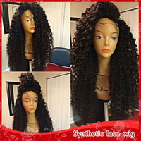 Wholesale Wig Black Curly Long - Fast shipping heat resistant fiber loose curl wigs kinky curly synthetic lace front wig long fluffy wigs for black women