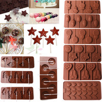Wholesale Lollipop Candy Molds - 1pcs Silicone Lollipop Cake Molds DIY Fondant Chocolate Stick Ice Cookie Mould Cupcake Candy Sugar Tool 9 styles