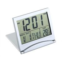 Wholesale Desk Clock Temperature - MT-033 Calendar Alarm Desk Digital Clock Display date time temperature flexible mini LCD Thermometer cover Folding Foldable
