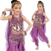 Wholesale kids indian dance costumes - 6 pcs Kid Childrens Indian Dance Performance Clothing Belly Dance Costume Full Sets Dress For KID Children