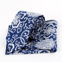 Wholesale Chinese Ties For Men - Free Shipping TIESET 100% cotton blue and white porcelain chinese elements slim necktie set men floral ties for party business leisure