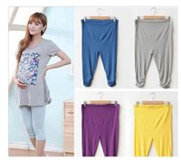 Wholesale White Cotton Maternity Pants - Pregnant Women Elastic Capris Pant Solid Pleated Cotton Maternity Leggings Best
