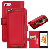Wholesale Iphone Billfold - Multi-functional Zipper Billfold Wallet Leather Phone Case Bag With Card Slot Money Pocket for Samsung s7 edge NOTE5 iphone7 6s New Design