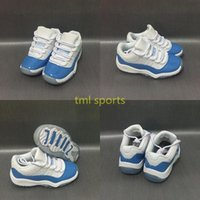 Wholesale University Baby - 2017 New kids Retro 11 UNC Low University Blue Basketball Shoes for Baby, Kids shoes Size US11C-3Y