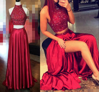 Wholesale navy blue long prom dresses - Shinning Two Pieces Prom Dresses High Neck Crystal Beading Dark Red Hollow Back Side Split Evening Gowns Long Formal Cocktail Party Dress