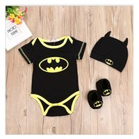 Wholesale Batman Baby Clothes For Girls - Batman Black Baby Romper For Toddler Girl Baby Clothing With Headband Shoes Cover For Boy Set