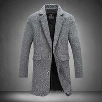 Wholesale trenchcoat style - Wholesale- Trench Coat Men Fashion England Style Manteau Homme Man's Single Breasted Long Pea Coat Woolen Coat Luxurious Trenchcoat 4XL 5XL