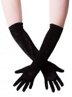 Wholesale Elbow Length Winter Gloves - Velvet gloves elbow length gloves long one size black winter gloves women