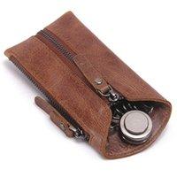 Wholesale key wallets for sale - Vintage Genuine Leather Key Wallet Women Keychain Covers Zipper Key Case Bag Men Key Holder Housekeeper Keys Organizer M2012