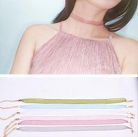 Wholesale Wholesale Organza Ribbon Chokers - 2017 new summer wholesale multi color textile statement Exquisite and simple lace necklace vintage retro organza Ribbon choker
