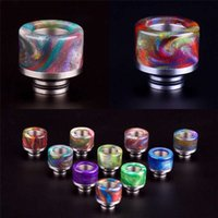 Ss Clearomizer Pas Cher-Tfv8 Baby Colorful Drip Tips Résine époxy SS Wide Bore 510 Embout de tête de goutte de fil pour Smok TFV8 Baby Clearomizer Ecig Tank Atomizers