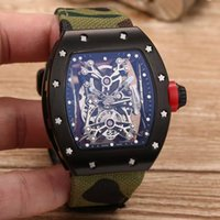 Wholesale United Fiber - Top luxury brand Europe and the United States carbon fiber men's watches new RM 50-27-01 Roman design mineral tempered glass automatic machi