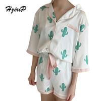 Wholesale Ladies Pajamas Pants - Wholesale- HziriP 2017Summer Pajamas Cactus Women Fashion Sleepwear Two Piece Casual Sets Short Shirt Pants Ladies Set Suit for Home