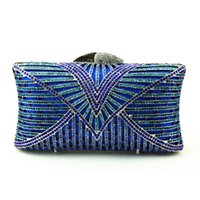 Wholesale Cell Online - Wholesale- Wholesale Champagne Blue Clutch Bag Small Size Crystal Clutch Purse with Strap Embroidery Patterns Vintage Evening Bag Online