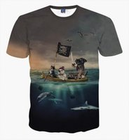 Commercio all'ingrosso - Uomo Donna Brave Gatto e Pug Pirata a bordo t shirts Mare sotto il mare Dolphin Turtle Sea Gull 3D t-shirt Nuvole scure