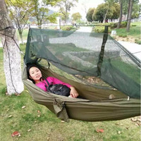 Wholesale Portable Parachute Fabric Hammock Hanging Bed With Mosquio Net Portable Outdoor Camping Sleeping Beds