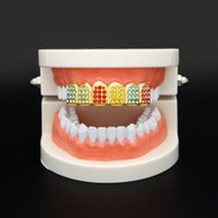 Wholesale Nightclub Accessories - Hiphop Teeth Jewelry GANGSTER Mens bling bling Grillz Colorful Gold Plated Top Quality Luxury Nightclub Jewelry Accessories Free Shipping