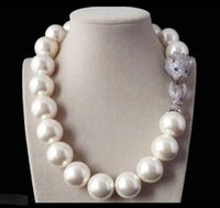Wholesale beaded circle - Rare 18mm White Shell Pearl Necklace Belt White Leopard Head CZ Clasp