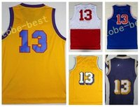 Wholesale Vintage Black Fan - Retro Men 13 Wilt Chamberlain Throwback Basketball Jerseys Cheap Vintage For Sport Fans Yellow Purple BLue White Team Stitched With Name