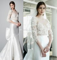 Wholesale Satin Sweetheart Wedding Fitted - elegant glamorous mermaid wedding dresses 2018 marchesa bridal three quarter sleeves sheer boat sweetheart neckline fit and flare