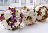 sıcak pembe çiçekler düğün buketi toptan satış-Vintage Yapay Düğün Buketleri Sıcak Satış Asil ve Zarif Fransız Şakayık Gelin Buketi Çiçekler Pembe Çikolata Mor Renk