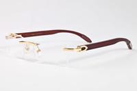 kadınlar için kırmızı gözlükler toptan satış-2017 çerçevesiz buffalo boynuz gözlük kutusu ile erkekler kadınlar güneş gözlüğü beyaz kırmızı siyah ahşap bambu gözlük lunettes