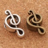 pulseira de notas de música de prata venda por atacado-Nota da música De Metal Big Hole Beads 100 / lote 18.4x9.5x7.3mm de Prata Antigo / Bronze Fit Charme Europeu Pulseiras Jóias DIY L1449