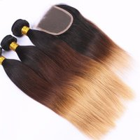 Wholesale Side Parting Brazilian Hair Closure - Ombre Human Hair Bundle With Lace Closure T1b 4 27 Three Tone Dark Root Peruvian Straight Virgin Hair Weaves With Top Closure 4pcs