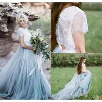 Wholesale Wedding Dresses Soft Elegant - 2017 Elegant Summer Beach Boho Lace Wedding Dresses A Line Cap Sleeves Light Blue Soft Tulle Skirts Bohemian Bridal Gown Plus Size