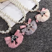Wholesale Kawaii Rhinestones - Cute Kawaii Kids Imitation Pearl Beauty Pendent Necklace Crystal Rhinestone Lace Choker for Girl Kids Gift Jewelry Accessory Wholesale
