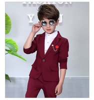 Wholesale Chinese Collared Blazer - Child Blazers Suits Coat + Pant + Brooch 3-Pieces Boys Clothing 2-10T Wedding flower Girl Dresses Set Kids Suits