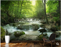 Wholesale Custom natural landscape wallpaper Enchanting Forest waterfall D photo mural for living room bedroom sofa background paper papel de parede