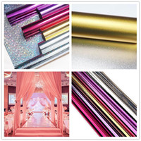 1M Largeur (20M / lot) 0.12 Épaisseur Or + Argent Face Mariage Miroir Carpet Runner Évènements Party Floor Decoration Supplies ZA3564
